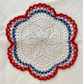 2021 Handmade Crocheted Lace from Croatia by Durda Janes, ONE-OF-A-KIND: Discounted! (CIRCULAR with CROATIAN 'TROBOJNICA'---Red, White, Blue!) #N2: NEW 10/21!