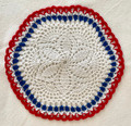 2021 Handmade Crocheted Lace from Croatia by Durda Janes, ONE-OF-A-KIND: Discounted! (CIRCULAR with CROATIAN 'TROBOJNICA'---Red, White, Blue!) #N1: NEW 10/21!