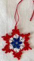 2021 Handmade Crocheted SNOWFLAKE ORNAMENT from Croatia by Durda Janes  with CROATIAN 'TROBOJNICA'---Red, White, Blue!) NEW 10/21! (Limited Inventory)