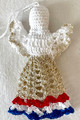 TROBOJNICA ANGEL ORNAMENT, Croatian Colors: Handmade Crocheted Lace from Croatia by Durda Janes, NEW for 2021! (RED-WHITE-BLUE) Larger Size and Filled Body That Will Stand on Its Own! NEW! (with GOLD skirts): NEW 10/21!