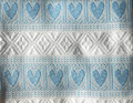 **(1CB) Tabletopper, Woven Baby Blue Hearts & White Geometric Folk Pattern: Imported from Croatia! NEW! 27.5 in x 27.5 in (70 cm x 70 cm) DISCOUNTED PRICE!  NEW in 10/21! More Coming Soon!