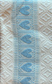 **(1CB) Table Runner, Woven Baby Blue Hearts & White Geometric Folk Pattern: Imported from Croatia! NEW! 14 in x 55 in (35 cm x 140 cm) DISCOUNTED PRICE! NEW in 10/21!