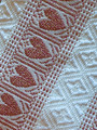 (1CB) GLAM Table Runner, Glittery Woven ROSE-GOLD Hearts & White Geometric Folk Pattern: Imported from Croatia! NEW! 14 in x 55 in (35 cm x 140 cm) DISCOUNTED PRICE! NEW in 10/21!
