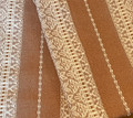 (1C) GLAM Table Runner, Glittery Woven Copper Textile & White Geometric Folk Pattern: Imported from Croatia! NEW! 14 in x 55 in (35 cm x 140 cm) DISCOUNTED PRICE! NEW in 10/21!