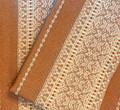 (1C) GLAM Tabletopper, Glittery Woven Copper Textile & White Geometric Folk Pattern: Imported from Croatia! NEW! 27.5 in x 27.5 in (70 cm x 70 cm) DISCOUNTED PRICE! NEW in 10/21!