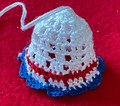 2021 Handmade Crocheted CHRISTMAS BELL ORNAMENT from Croatia by Durda Janes with CROATIAN 'TROBOJNICA'---Red, White, Blue!) NEW 10/21! (Limited Inventory)