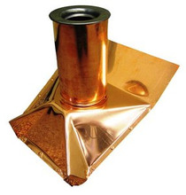 Roof Vent Pipe Boot - Copper - Flat Pitch - 4 Inch
