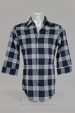 Plaid Shirt with Half Length Sleeves
