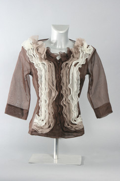 Silk Organza Blouse with Ruffled Center (Available in 3 Colors)