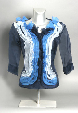 Silk Organza Blouse with Ruffled Center--Available in Blue, Brown, or Gray