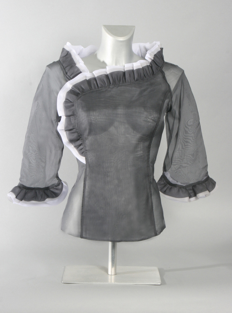 5107890f5c172d Silk Organza Blouse with Ruffled Collar and Cuff--Available in Gray ...