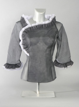 Silk Organza Blouse with Ruffled Collar and Cuff--Available in Gray or Brown