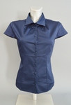 Classic Style Short Sleeve Blouse with Small Ruched Collar Detail