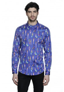 Slim Fit Shirt with Fashion Print and Stand Up Collar