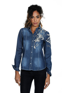 Denim Blue Blouse with Floral Embroidery Stitching