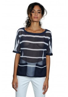 Light Weight Horizontal Stripe Blouse in Navy and White