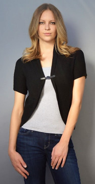 Cardigan with Buckle Enclosure and Short Sleeves in Black