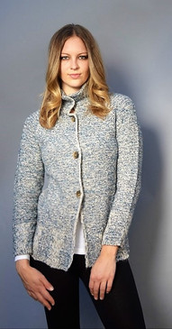 Heavy Weight Cardigan with Stand Up Collar in Blue and Ivory
