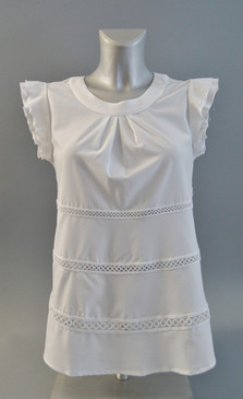 Light Weight White Blouse with Small Eyelet Detailing