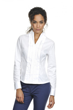 Vertical Pleat Blouse with Stand Up Collar