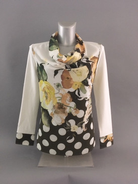 Ivory Floral Blouse with Solid Cream Colored Back and Sleeves
