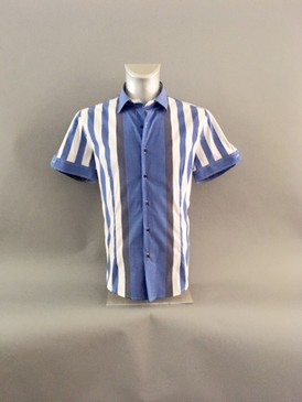 Classic Style Striped Shirt in Blue and White Hues