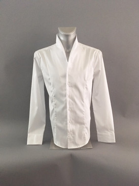 Classic Style Polished Cotton Shirt with Stand Up Collar