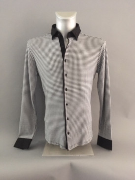 Stretchy Shirt with Geometric Houndstooth Design and Button Down Collar