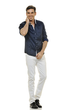 Classic Style Polished Cotton Two Tone Shirt