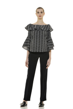 Eyelet Lace Blouse with Boat Neckline and Ruffled Sleeves