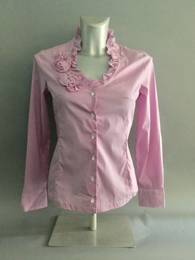 Vertical Striped Blouse with Ruffled Collar and Flower Detail