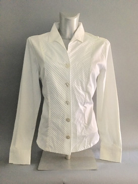 Classic Style Blouse with Diagonal Center Pleats