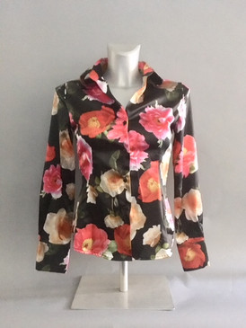 Classic Style Satin Floral Blouse