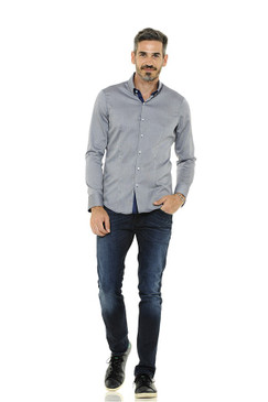 Polished Cotton Shirt with Button Down Collar