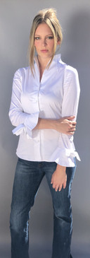 Cotton Blouse with Stand Up Collar and Bow on Cuffs