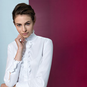 Polished Cotton Blouse with Small Ruching on the Band Collar and Front