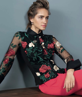 Double Fabric Blouse with Embroidered Rose Motif