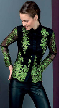 Double Fabric Blouse with Contrasting Embroidery