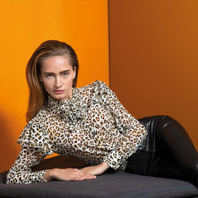 Light Fabric Blouse with Trending Animal Print