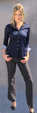Navy Classic Style Blouse with Pindot Pattern on Inner Cuff and Collar