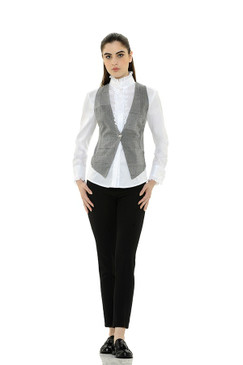 Herringbone and Striped Vest with Swarovski Buttons