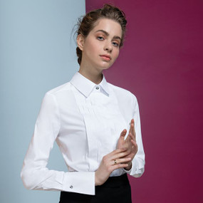 Pleated Plastron Blouse with Swarovski Buttons
