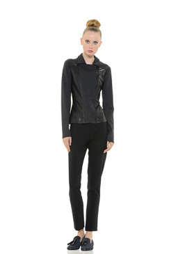 Faux Leather and Jersey Blouse with Zipper