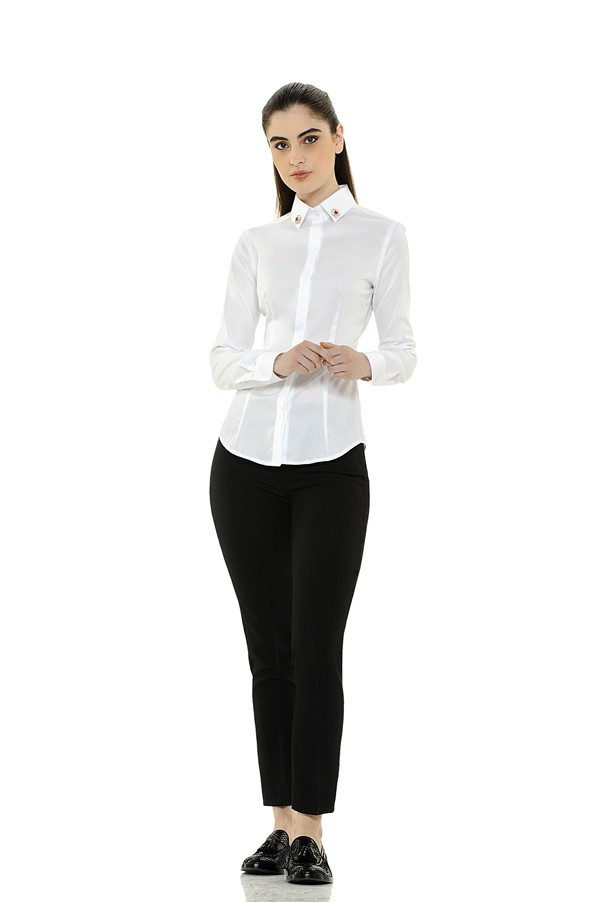 Classic Polished Cotton Blouse With Jeweled Embellishment On Collar