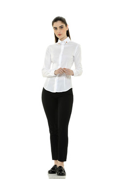 Classic Polished Cotton Blouse with Jeweled Embellishment on Collar and Cuffs