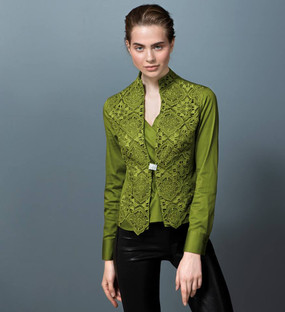 Cotton Blouse with Lace Plastron and Swarovski Buttons