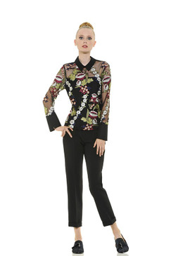 Double Fabric Blouse with Floral Embroidery