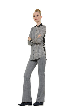 Light Viscose Blouse with Three Different Prints and Band Collar