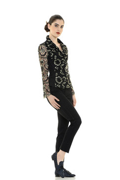 Cotton Jacket Blouse with Gold and Black Floral Lace