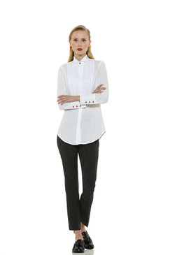 Classic Style Cotton Blouse with Red Buttons